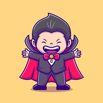 Nette dracula-karikatur-symbol-illustration. people holiday icon concept isoliert. flacher cartoon-stil