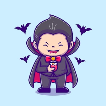 Nette dracula trinken blutsaft mit fledermaus cartoon icon illustration. people holiday icon concept isoliert. flacher cartoon-stil