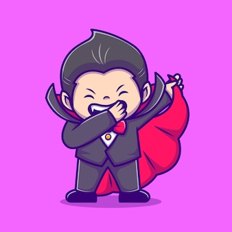 Nette dracula-tupfer-cartoon-symbol-illustration. people holiday icon concept isoliert. flacher cartoon-stil