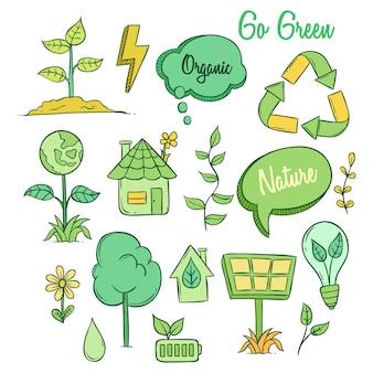 Nette eco ikonen mit farbiger gekritzelart auf weißem hintergrund