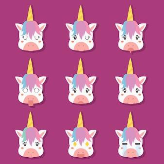Nette einhorn emoticons mit lustigen gesichtern gesetzt