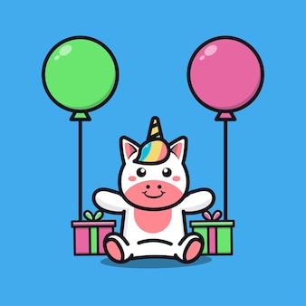 Nette einhorn-geburtstagsfeier mit geschenk- und ballonkarikaturillustration