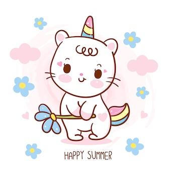 Nette einhornkatze, die blume glückliche sommersaisonkarikatur hält