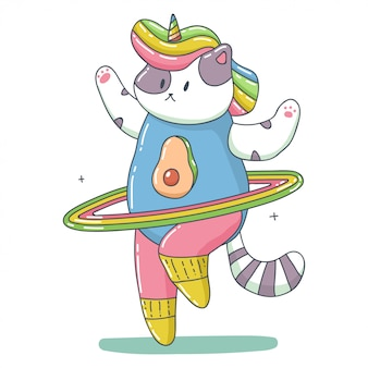 Nette einhornkatze mit regenbogen-hula-reifen, der fitness-übungskarikaturtiercharakter lokalisiert auf einem weißen hintergrund tut.