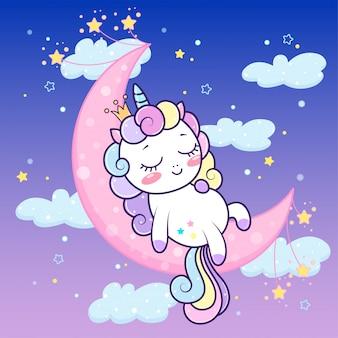 Nette einhornprinzessin, die auf halbmond unter sternen schläft. vektor kawaii einhornschlafzeit. illustration der kleinen entzückenden einhornzeichentrickfilm-figur in den flachen pastellfarben.