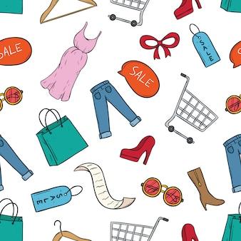 Nette einkaufen- oder verkaufszeitikonen mit farbiger gekritzelkunst
