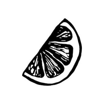 Nette einzelne handgezeichnete zitrone für menü oder rezept. doodle-vektor-illustration. frisch und lecker.