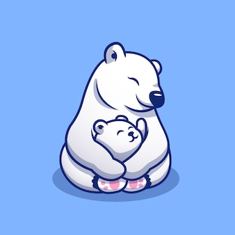 Nette eisbärenmutter, die baby-polar-karikatur-symbol-illustration umarmt. tierfamilie icon concept premium. cartoon-stil