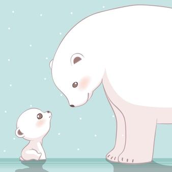 Nette eisbärenmutter und ihre babycharakter-entwurfsillustration