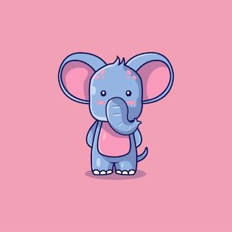 Nette elefantenikonen-karikaturillustration