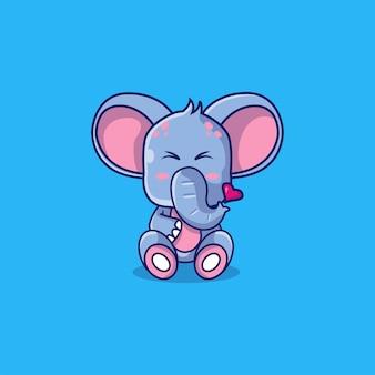 Nette elefantenkarikaturillustration
