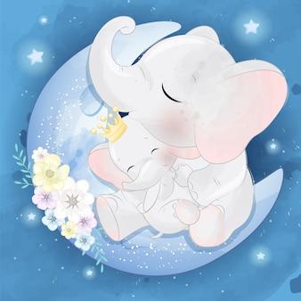 Nette elefantenmutter und baby