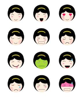 Nette emoji-sammlung. kawaii asiatisches mädchen sehen sich unterschiedlichen stimmungen gegenüber