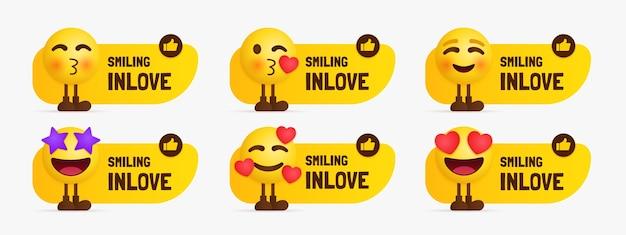 Nette emoji-zeichen, die mit textetikett stehen, satz des gefühls in der liebe emotional