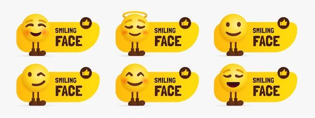 Nette emoji-zeichen, die mit textetikett stehen, satz des glücklichen gesichtes emotional