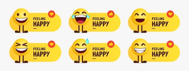 Nette emoji-zeichen, die mit textetikett stehen, satz des lächelnden gesichtes emotional