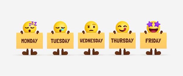 Nette emoji-zeichen, die papier des wochentags halten, büroangestellte, die zeitachse fühlen