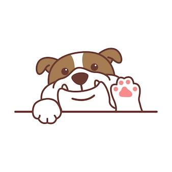 Nette englische bulldogge, die pfoten-karikatur winkt