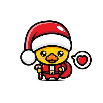 Nette ente, die weihnachtsmannkostüm trägt