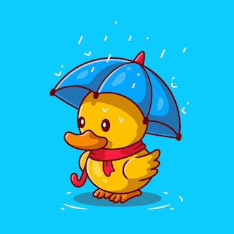 Nette ente mit regenschirm in der regen cartoon icon illustration