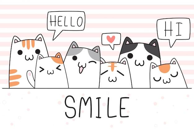 Nette entzückende hand gezeichnete babykatzenkätzchenfamiliengrußkarikaturkritzeltapetenabdeckung