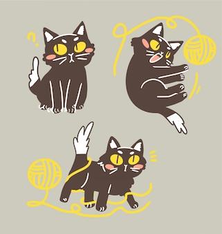 Nette entzückende reizende schwarze kätzchen-katze, die mit garn-ball-gekritzel-illustrations-aufkleber-sammlung spielt