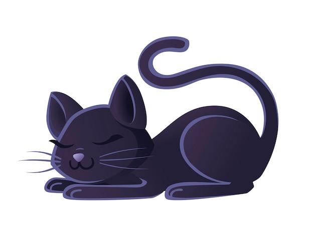 Nette entzückende schwarze katze, die auf flacher vektorillustration des bodenkarikaturtierdesigns auf weißem hintergrund schläft.