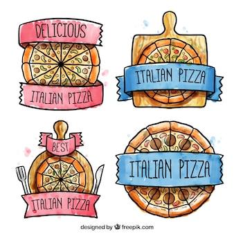 Nette etiketten für pizza von hand bemalt