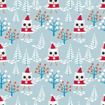 Nette eule auf nahtlosem muster des weihnachtsthemas.