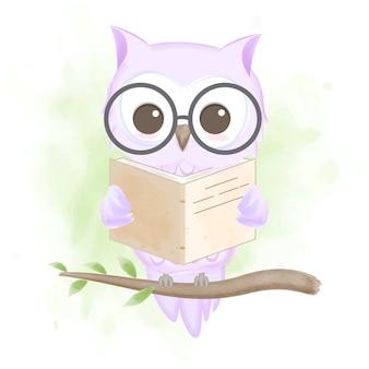 Nette eule, die ein buch liest, handgezeichnete karikaturillustration