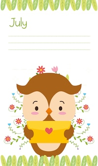 Nette eule mit liebesbrief, juli-anzeige, flache art