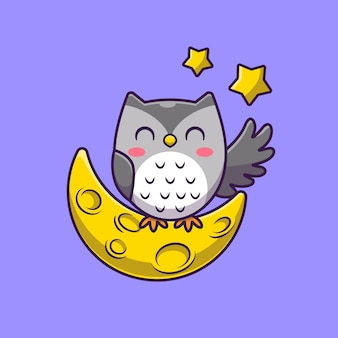 Nette eule mit mond und sternen cartoon icon illustration.