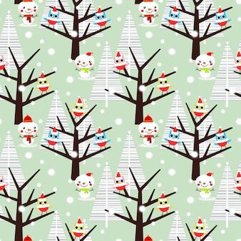 Nette eule und schneemann im nahtlosen muster der weihnachtsjahreszeit.