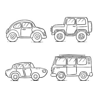Nette färbung für kinder mit autos