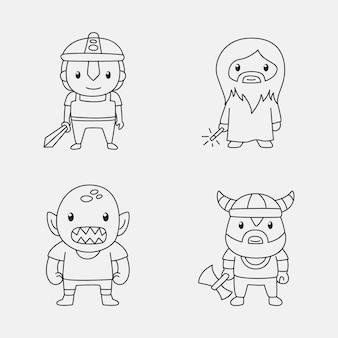 Nette färbung für kinder mit cartoon-sammlung
