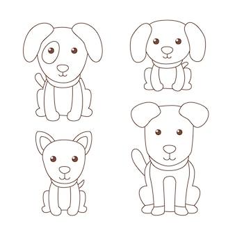 Nette färbung für kinder mit hunden