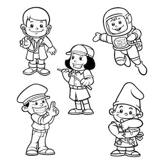 Nette färbung für kinder mit karrieren