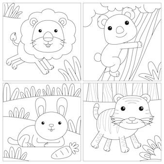 Nette färbung für kinder mit löwen-koala-kaninchen und tiger