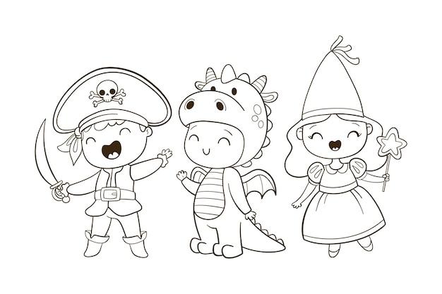 Nette färbung für kinder mit märchen