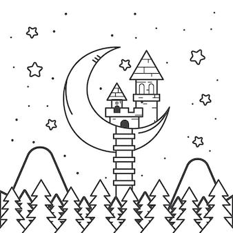 Nette färbung für kinder mit märchenschloss
