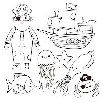 Nette färbung für kinder mit piratenkonzept
