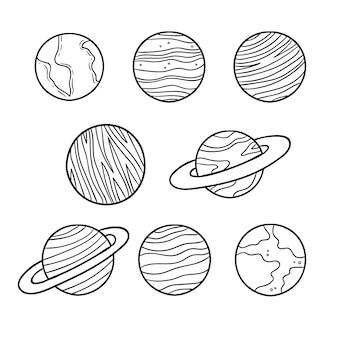 Nette färbung für kinder mit planeten