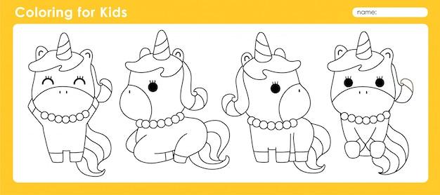 Nette färbung für kinder mit tier-einhorn
