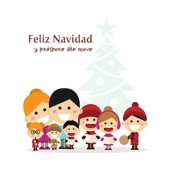 Nette familie, die weihnachtslieder nachts singt