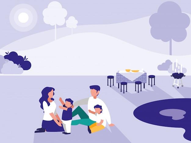 Nette familie im park mit picknick