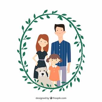 Nette familie mit dekorativem blumenkranz