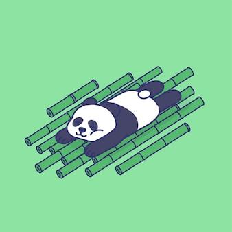 Nette faule panda schlafende spitze auf bambusstöcken cartoon maskottchen konzept illustration