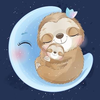 Nette faultiermutter und baby, die im mond schlafen