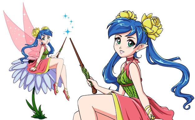Nette fee, die auf blume sitzt. anime-stil. mädchen mit blauen pferdeschwänzen, die rosa kleid tragen. handgezeichnete vektor-illustration. getrennt auf weiß. kann für kinderspiele, bücher, t-shirts usw. verwendet werden.