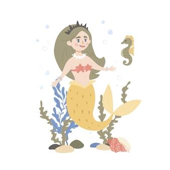 Nette feenhafte meerjungfrau und seepferdchen. perfekt aussehen auf t-shirt, poster, kinderzimmerdekoration, bekleidungsdesign.